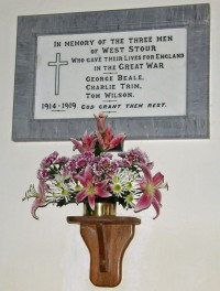 Commemorating the 3 First World War victims from West Stour